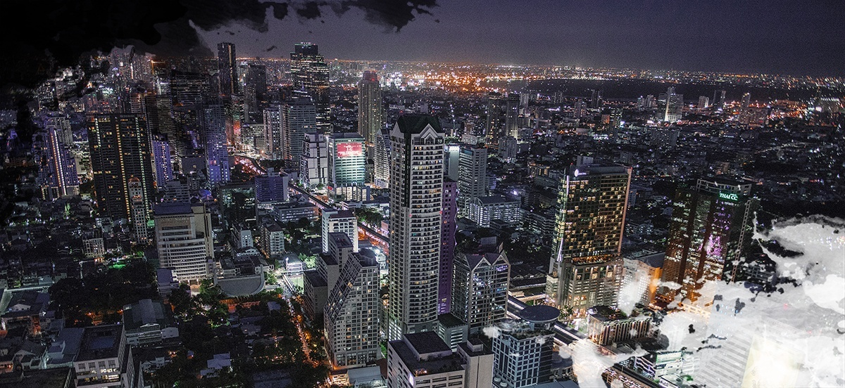 A view over Bangkok at night